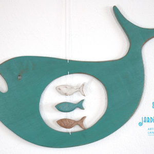 handmade on recycled wood pregnant whale