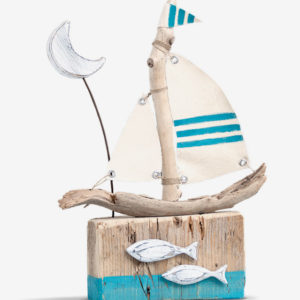 driftwood sailboat with fishes and moon