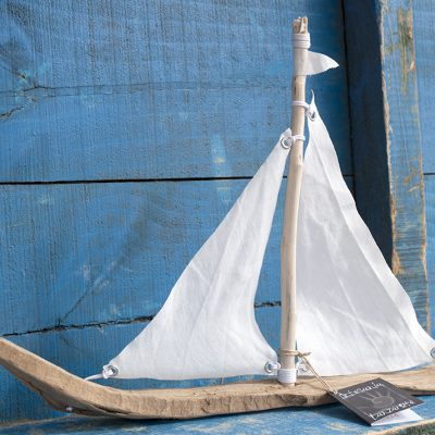 Driftwood and linen sailboat, handmade in Lanzarote