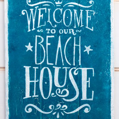 "Vintage recycled wood sign ""Beach house"" handmade - Jardin del Mar"