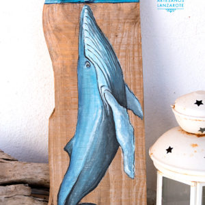 Painting on driftwood of blue whale and sailboat - Jardin del Mar