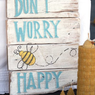 Handmade painted on recycled wood