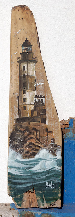 Painting of old lighthouse - acrylic on driftwood board