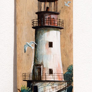 Painting of rusty lighthouse - acrylic on driftwood board