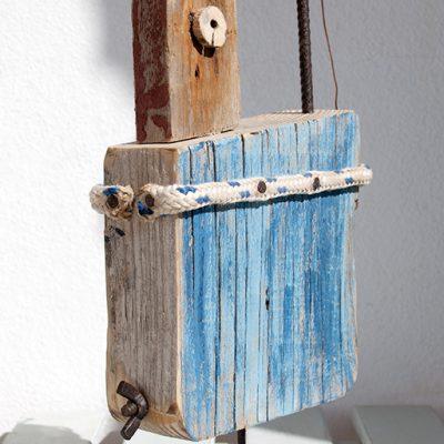 Handmade driftwood fishing boat in Lanzarote by Jardindelmar.es
