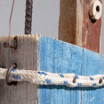 Particular of handmade driftwood fishing boat in Lanzarote by Jardindelmar.es