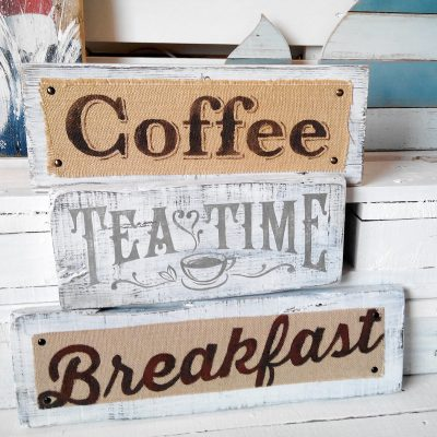 Vintage wooden recycled signs of coffee bar
