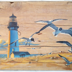 Painting of lighthouse and seagulls - acrylic on driftwood board