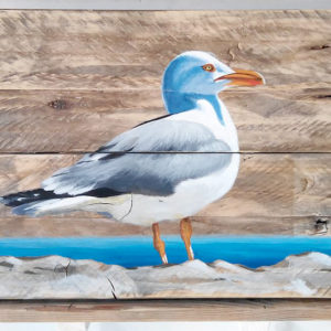 Painting of a seagull - acrylic on driftwood board