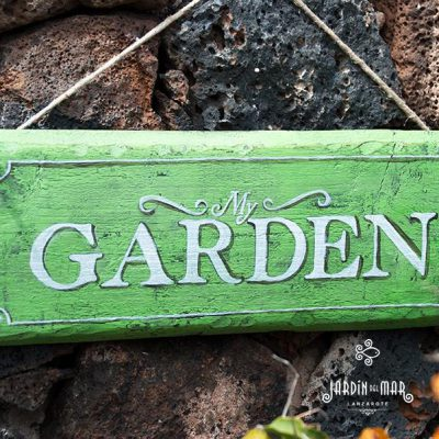 Wooden sign Graden handmade with recycled wood in Lanzarote - Jardin del Mar