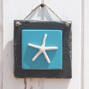 recycled wooden signs marine - starfish was made in ceramic