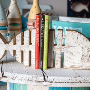 Bookend fishbone handmade with recycled wood - Jardin del Mar