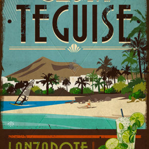 Wooden vintage sign: drawing, painting of Costa Teguise - Lanzarote - Jardin del Mar