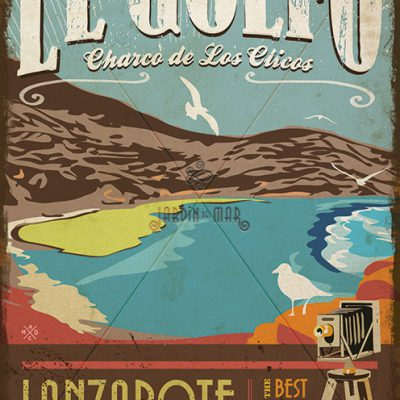 Wooden vintage sign: drawing, painting of El Golfo - Lanzarote  - Jardin del Mar