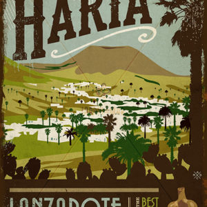 Wooden vintage sign: drawing, painting of Haría - Lanzarote - Jardin del Mar