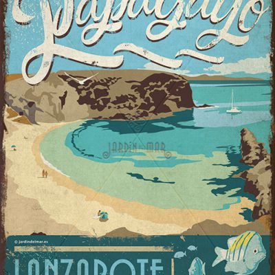 Wooden vintage sign: drawing, painting of Playa Papagayo - Lanzarote - jardindelmar