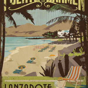 Wooden vintage sign: drawing, painting of Puerto del Carmen - Lanzarote - Jardin del Mar