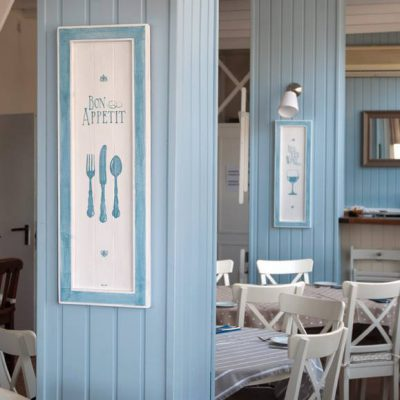 "Wooden frames handmade painted for Shutters, coastal beach Restaurant in Costa Teguise, Lanzarote: ""Bon Appetit"" - Jardin del Mar"