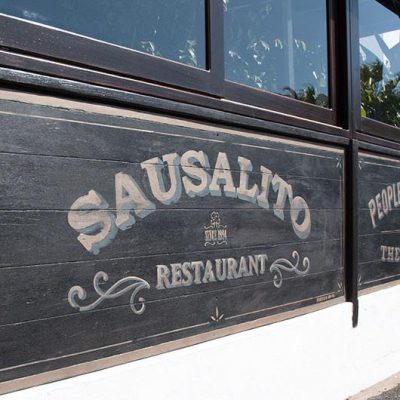Wooden panels handmade painted with old school lettering for Sausalito Restaurant in Costa Teguise - Lanzarote - Jardin del Mar