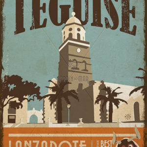 Wooden vintage sign: drawing of Teguise - Lanzarote - Jardin del Mar