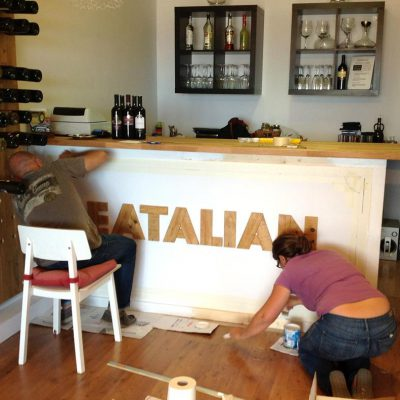 "Decoration of bar ""Eatalian"" in Costa Teguise - Lanzarote; summer 2014 - Jardin del Mar"