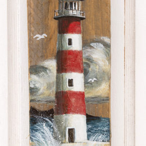 Painting of lighthouse red and white on driftwood - Jardin del Mar