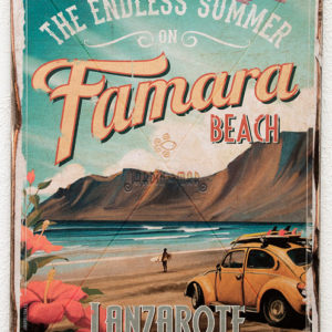 Lanzarote vintage travel wooden signs: drawing, painting The endless summer on Famara beach - Jardin del Mar