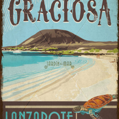 Wooden vintage sign of La Graciosa - Lanzarote - Jardin del Mar