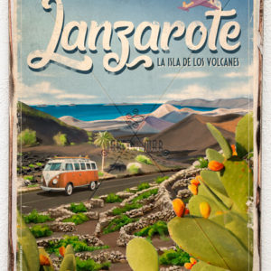 Wooden vintage sign of Lanzarote - Lanzarote - Jardin del Mar