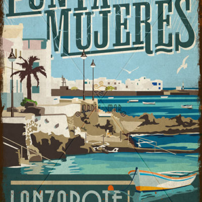 Wooden vintage sign of Punta Mujeres - Lanzarote - Jardin del Mar
