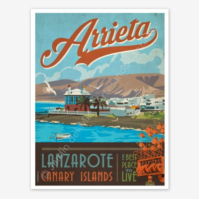 Arrieta, Lanzarote vintage travel poster