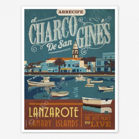 Arrecife, Charco San Gines, Lanzarote, vintage travel poster
