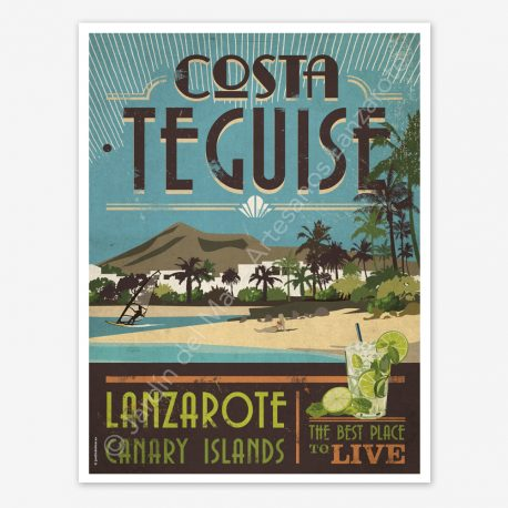 Costa Teguise Lanzarote, vintage travel poster