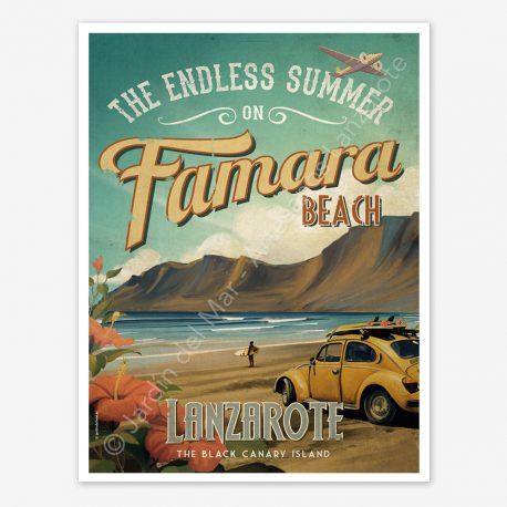 Famara Beach, Lanzarote vintage travel poster