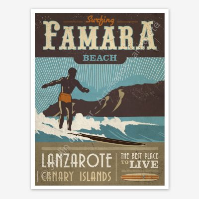 Famara, Lanzarote, vintage travel poster