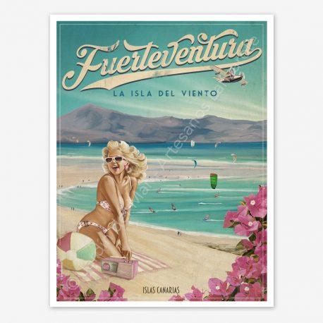 Fuerteventura vintage travel poster