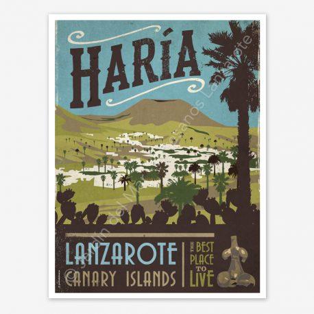 Haria, Lanzarote, vintage travel poster