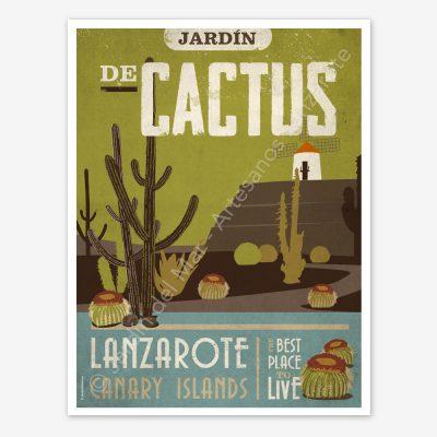 Jardín de Cactus, Lanzarote, vintage travel poster