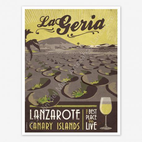 La Geria, Lanzarote, vintage travel poster