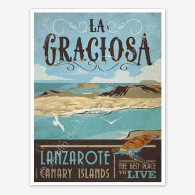 La Graciosa, Canary Islands, Lanzarote, vintage travel poster
