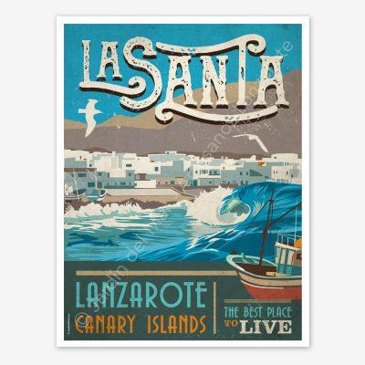 La Santa, Lanzarote, vintage travel poster