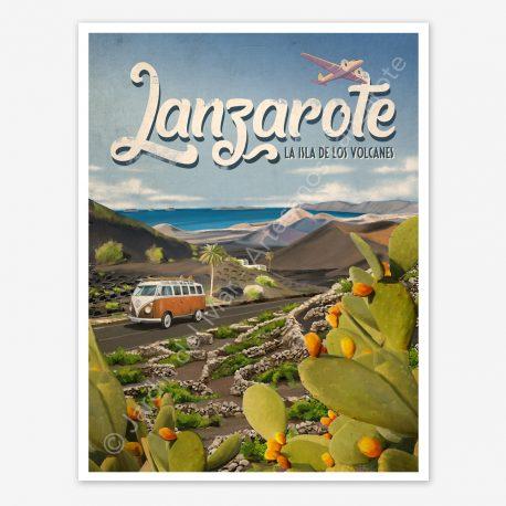 Lanzarote, vintage travel poster