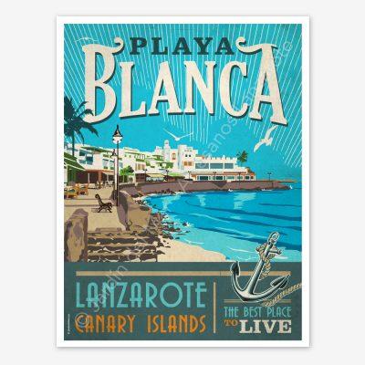 Playa Blanca, Lanzarote vintage travel poster