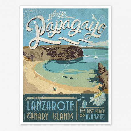 Playa Papagayo, Lanzarote, vintage travel poster
