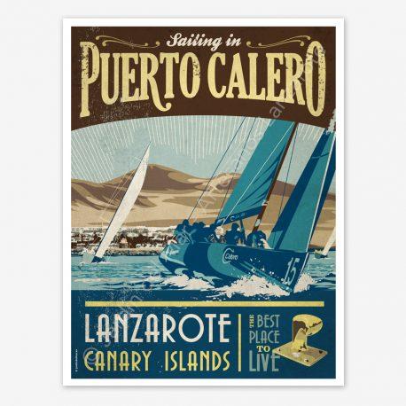 Puerto Calero, Lanzarote, vintage travel poster