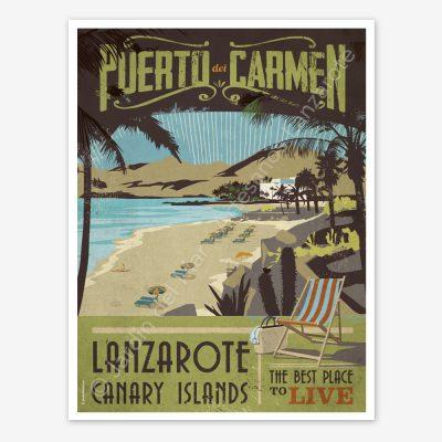Puerto del Carmen, Lanzarote, vintage travel poster