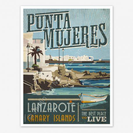 Punta Mujeres, Lanzarote, vintage travel poster