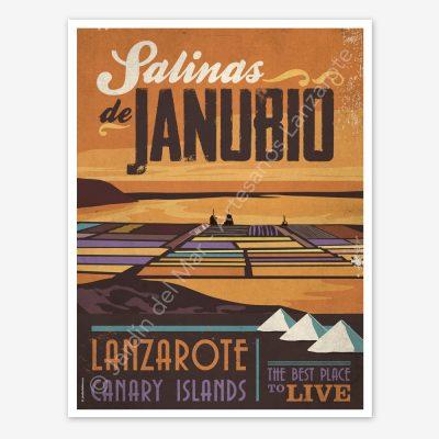 Salinas de Janubio, Lanzarote, vintage travel poster