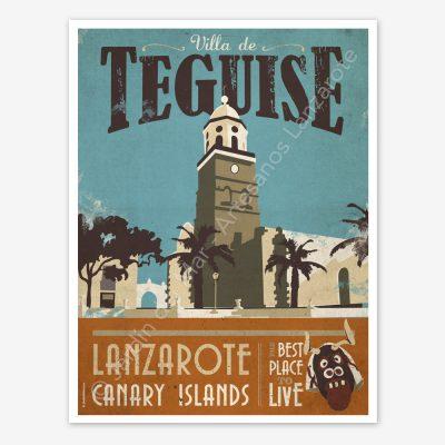 Teguise, Lanzarote, vintage travel poster