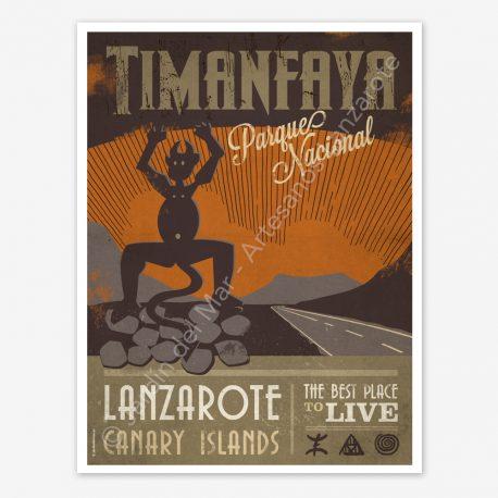 Timanfaya National Park, Lanzarote, vintage travel poster